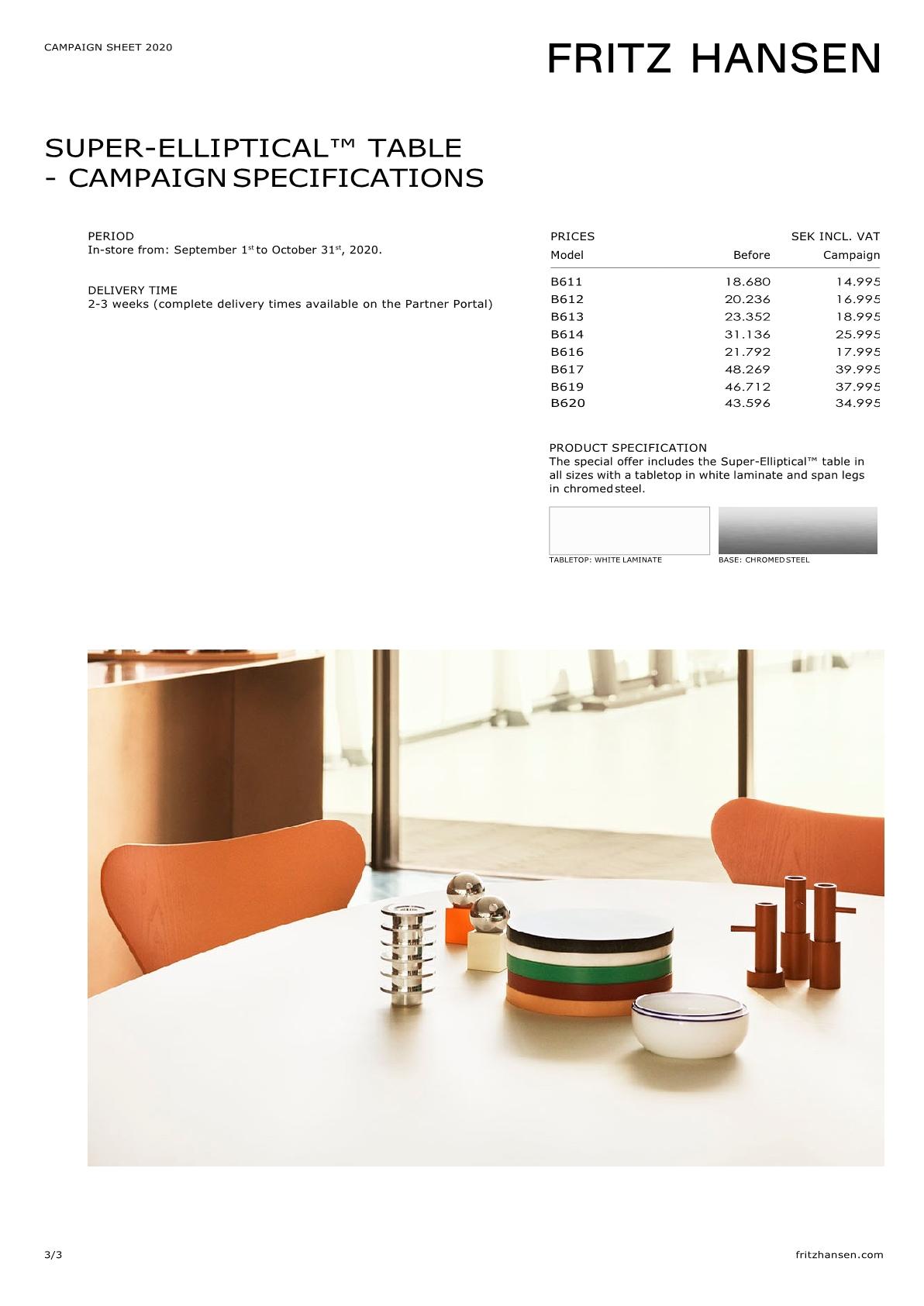 Superellips B614 bord Klassiska designbord från Fritz Hansen
